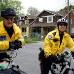 Officers from 55 Division get into the Mother's Day spirit and adorn their bikes with flowers.